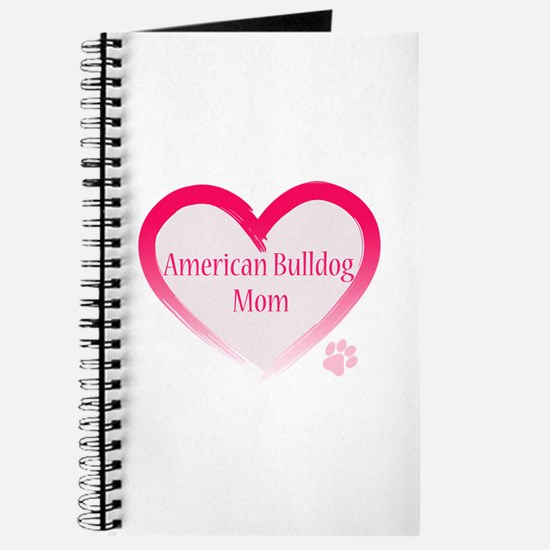 American Bulldog Mom Pink Heart Journal