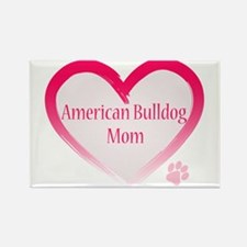 American Bulldog Mom Pink Heart Rectangle Magnet