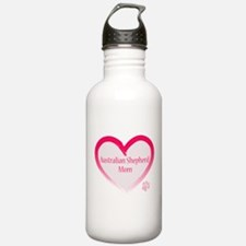 Australian Shepherd Pink Heart Water Bottle