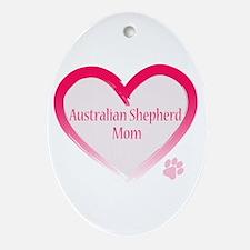 Australian Shepherd Pink Heart Ornament (Oval)