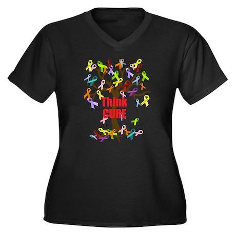 Think CURE Women's Plus Size V-Neck Dark T-Shirt