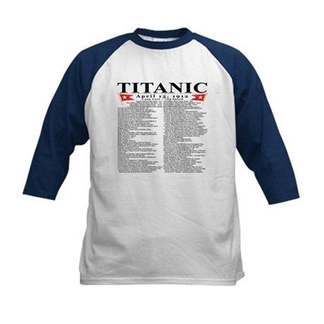 Titanic Ship Statistics Kids Baseball Jersey