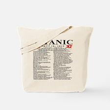 Titanic Ship Statistics Tote Bag