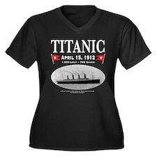Titanic Ghost Ship (white) Women's Plus Size V-Nec