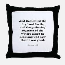 Genesis 1:10 Throw Pillow