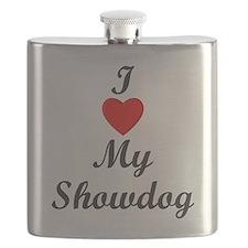 I Love My Showdog Flask