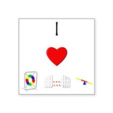 I Love Agility (with equipment) Square Sticker 3""