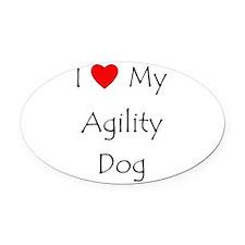 I Love My Agility Dog Oval Car Magnet