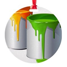 Paint Cans Round Ornament