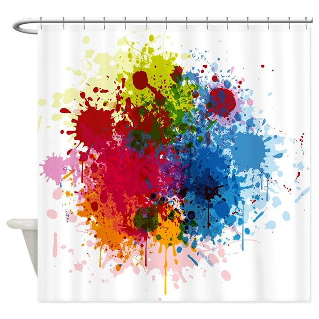 abstract paint shower curtain by thebigshopofgreatstuff