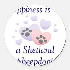 happinessshetland.png Round Car Magnet