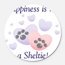 happinesssheltie.png Round Car Magnet