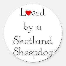 lovedshetland.png Round Car Magnet