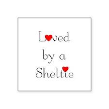 "lovedsheltie.png Square Sticker 3"" x 3"""