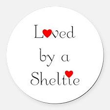 lovedsheltie.png Round Car Magnet