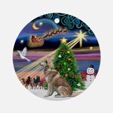 Xmas Magic & Red Siberian Husky Ornament (Round)