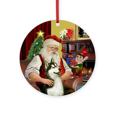 Santa's Siberian Husky (3) Ornament (Round)