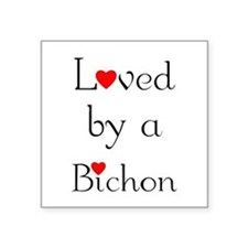 "lovedbichon.png Square Sticker 3"" x 3"""