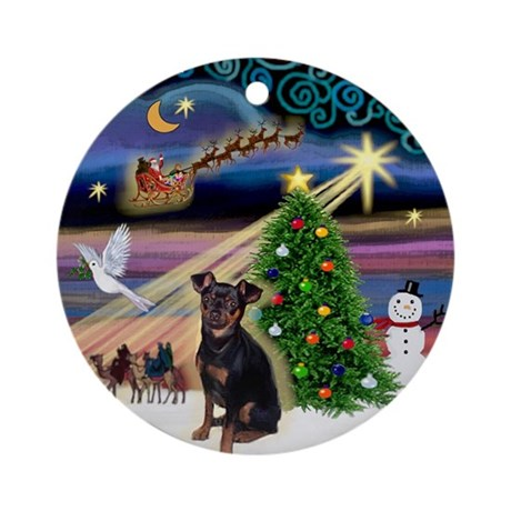 Xmas Magic & Min Pin (nat) Ornament (Round)