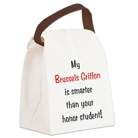 brusselsgriffonsmarter10.png Canvas Lunch Bag