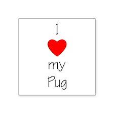 "lovemypug.png Square Sticker 3"" x 3"""