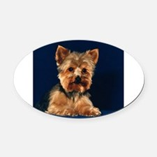 yorkietile.png Oval Car Magnet