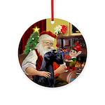 Santa's Giant Schnauzer Ornament (Round)