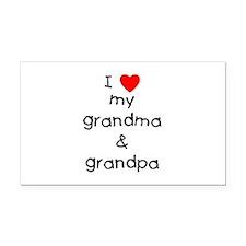 I Love My Grandma & Grandpa Rectangle Car Magn