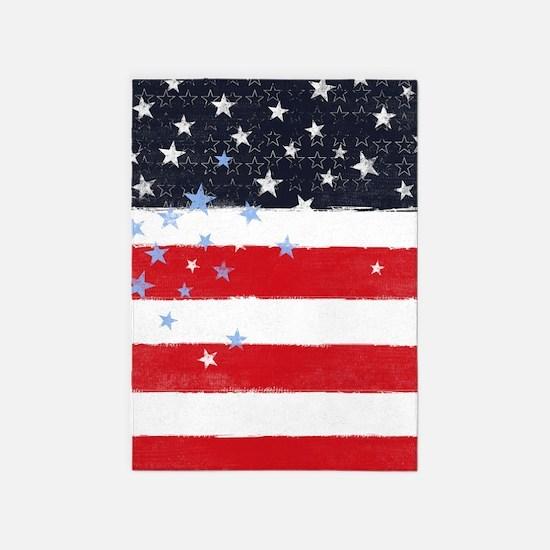 Patriotic Stars and Stripes 5'x7'Area Rug