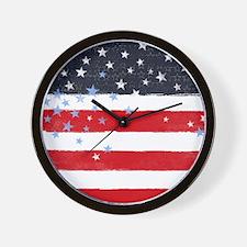Patriotic Stars and Stripes Wall Clock