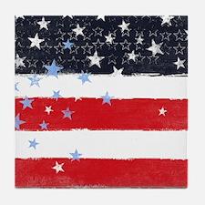 Patriotic Stars and Stripes Tile Coaster