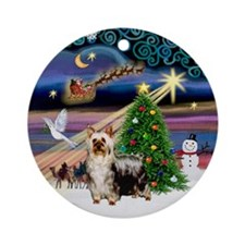 Xmas Magic & Silky Terrier (Chrm) Ornament (Ro