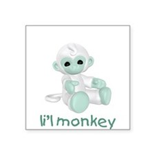 "lilmonkey-green.png Square Sticker 3"" x 3"""