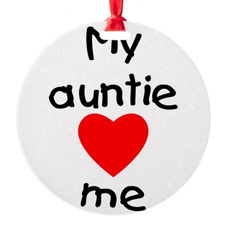 lovesme-auntie.png Round Ornament