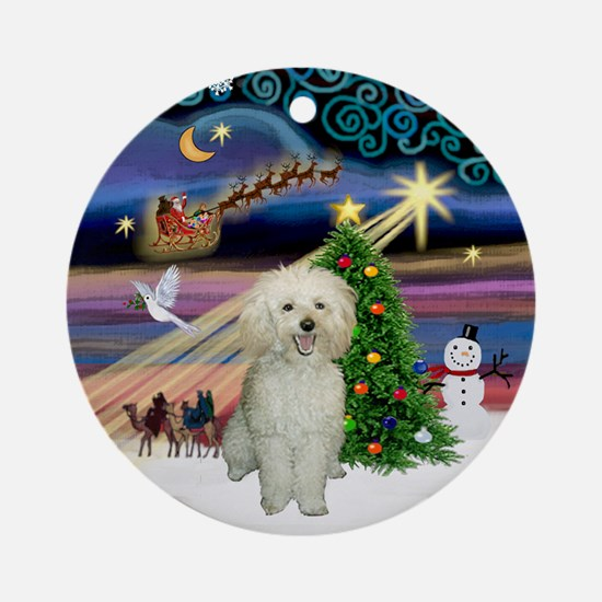 Xmas Magic & White Toy Poodle Ornament (Round)