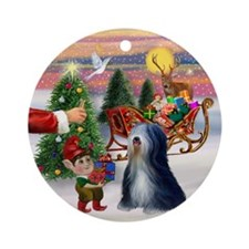 Santa's Treat & Tibetan Terrier Ornament (Round)