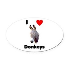 I Love Donkeys Oval Car Magnet