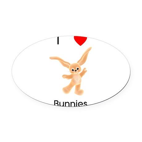 lovebunnies-orange.png Oval Car Magnet