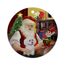 Santa's white Toy Poodle Ornament (Round)