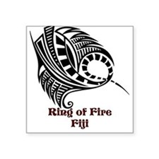 "Ring of Fire Manta Ray Square Sticker 3"" x 3"""