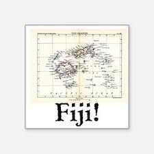 "Fiji Map Square Sticker 3"" x 3"""