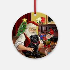 Santa's Black Pug (red collar) Ornament (Round)