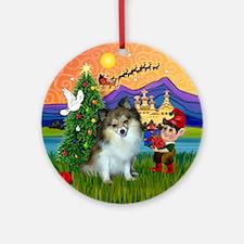 Xmas Fantasy with a Parti Pom Ornament (Round)