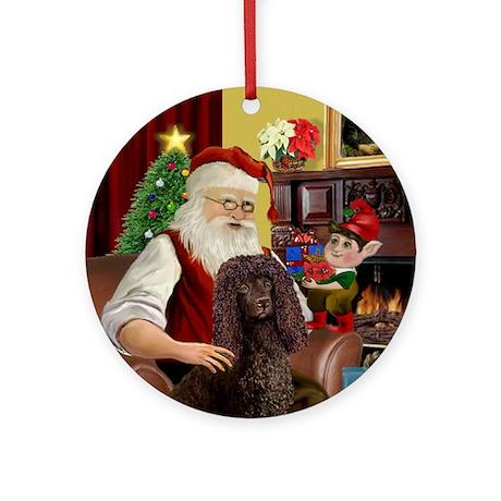 Santa's Irish Water Spaniel Ornament (Round)