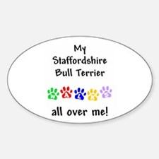 Staffordshire Bull Terrier Walks Oval Decal