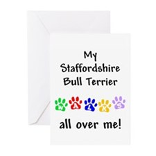 Staffordshire Bull Terrier Walks Greeting Cards (P