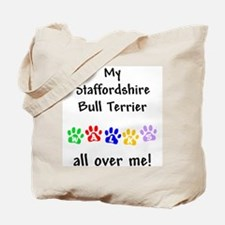 Staffordshire Bull Terrier Walks Tote Bag