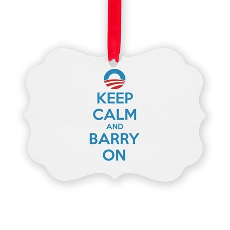 Keep calm and barry on Picture Ornament