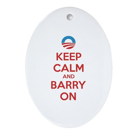 Keep calm and barry on Ornament (Oval)