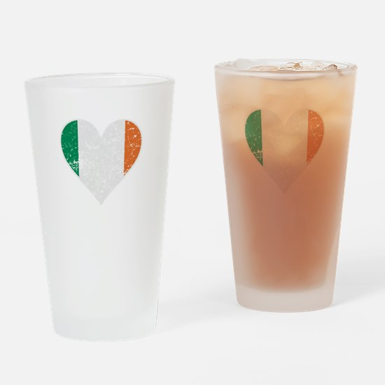 Distressed Irish Flag Heart Drinking Glass